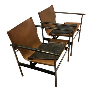 Charles Pollock 657 Sling Back Chairs - a Pair