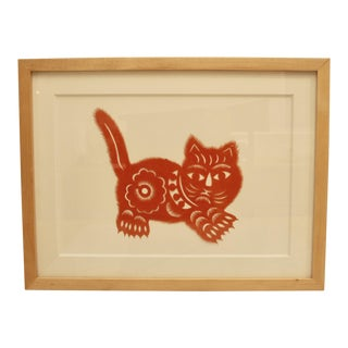 Cut Red Paper Cat Framed Composition