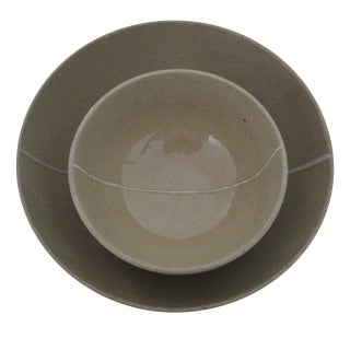 Gray Pottery Bowls - A Pair