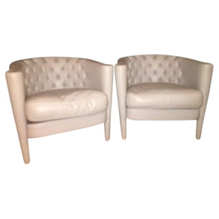 Gray Italian Leather Vitra Chairs - A Pair