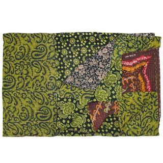 Vintage Green Kantha Quilt