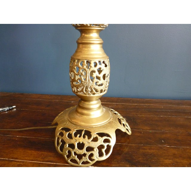 Punched Brass Column Table Lamp - Image 8 of 8
