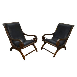 British Colonial Style Solid Teak & Leather Plantation Lounge Chairs - A Pair