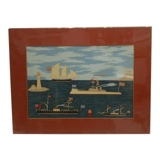 "Original ""Naval Ships by the Lighthouse"" Print"