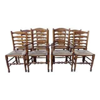 English Ladder Back Dining Chairs- Set of 8