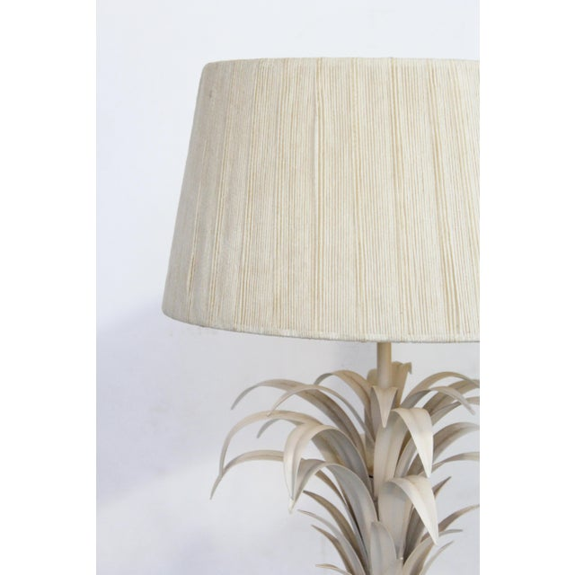 Large Tole Table Lamp with Rope Shade - Image 2 of 10