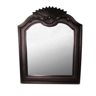 Bronzed Espresso Wicker & Wood Mirror