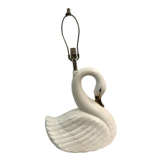 Large Vintage White Porcelain Swan Lamp