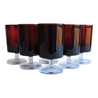 Dark Red Glasses, Set of 6