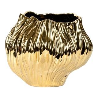 Mid-Century Gold Plated Ceramic Vase