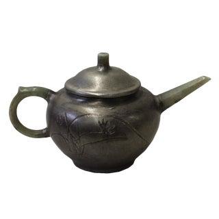 Chinese Zisha Jade Stone Handle Silver Color Teapot Display Art