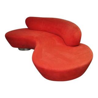 Vladimir Kagan Serpentine Sofa on Chrome Bases