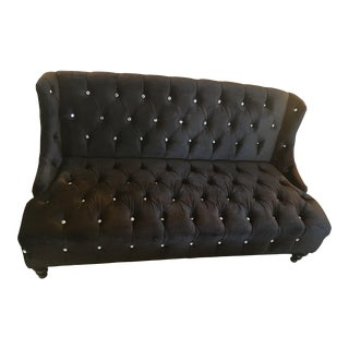 Regency Black Tufted Sofa