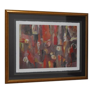 Contemporary Framed Abstract Oil on Paper