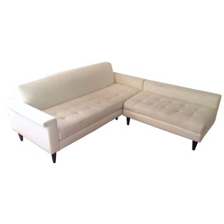 Mid-Century White Sectional Sofa