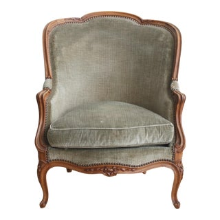 Green Velvet Bergere Chair