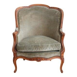 Green Velvet Bergere Chair
