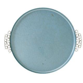 Vintage Kyes California Aqua Moire Glaze Tray