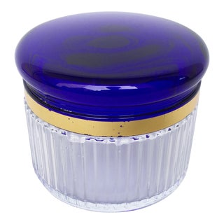 VTG Cobalt Blue Glass Vanity Jar