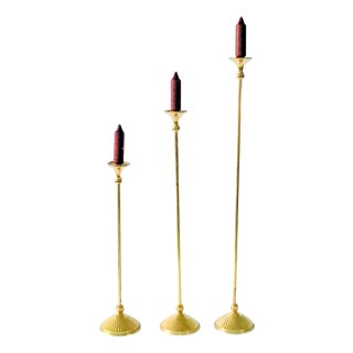 Mid-Century Tall Brass Candle Sticks - Set of 3