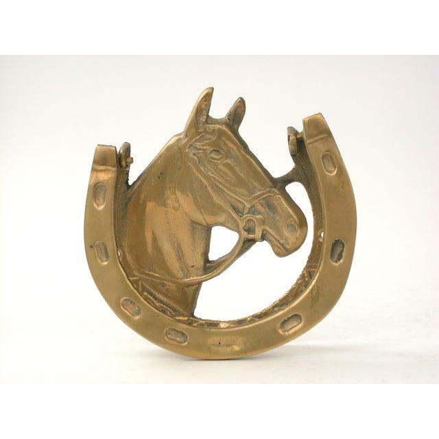 Vintage brass horse door knocker chairish - Horse door knocker ...