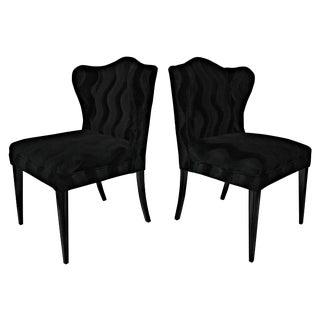 Black Mohair Wingback Chairs - A Pair