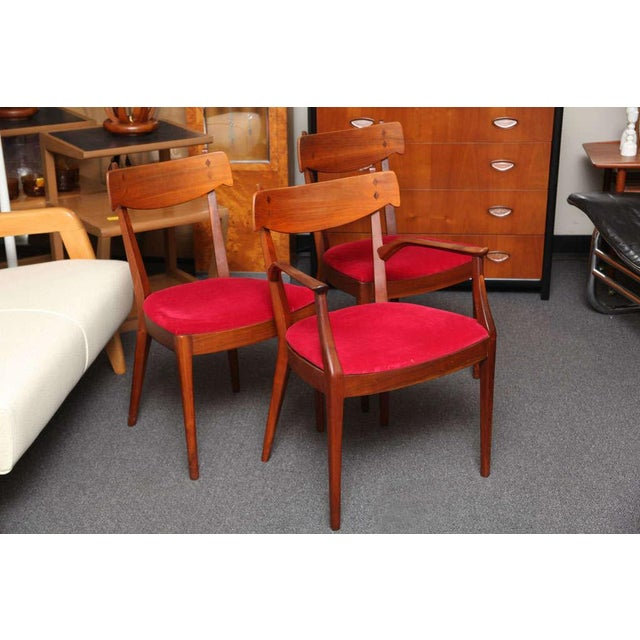 "Mid Century Modern 6 Drexel ""Declaration"" Line Walnut Dining Chairs. 1950s - Image 3 of 9"