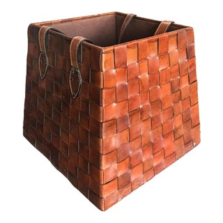 Italian Leather Basket, 1970s