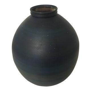 Mid-Century Striated Blue Ceramic Vessel