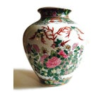 Image of Vintage Rose Medallion Style Chinoiserie Vase