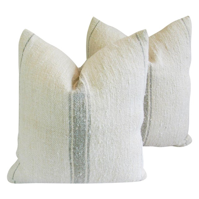 Image of French Gray Stripe Grain-Sack Pillows - Pair