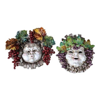 Majolica Busts Wall-Mounted Reliefs - A Pair