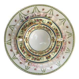 Vintage Mismatched English Pink & Green Place Setting - Set of 4