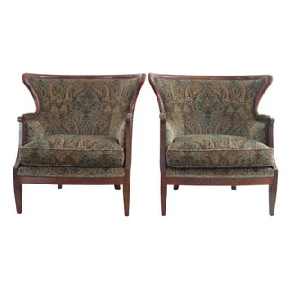 Baker Velvet & Cherry Wood Wingbacks - A Pair