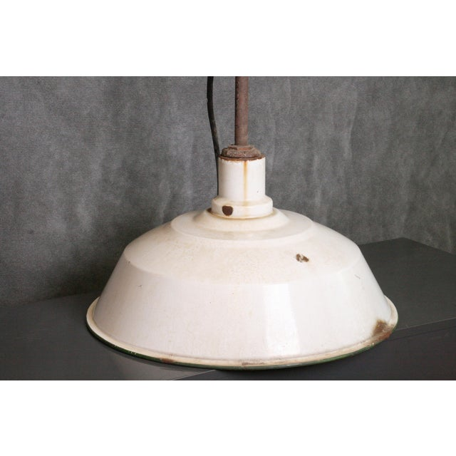 Vintage Industrial White Porcelain Ceiling Light Fixture - Image 10 of 11