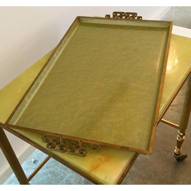 Image of Vintage Hollywood Glam Kyes Green Moire Glaze Serving Tray with Gilt Handles