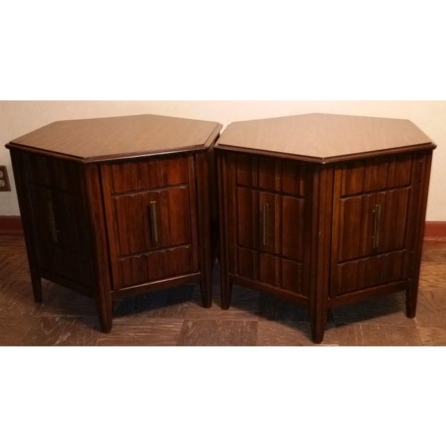 Mid-Century Mersman Brutalist Style Side Tables - A Pair - Image 2 of 5