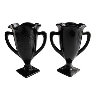 Vintage Black Glass Loving Cups - A Pair