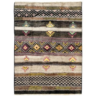 "New Moroccan Hand Knotted Area Rug - 4'6"" x 6'3"""
