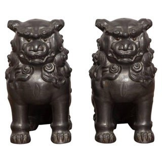 Chinese Pewter Foo Dog Lions - Pair