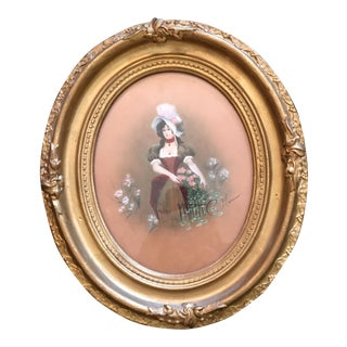 Framed Victorian Watercolor Portrait