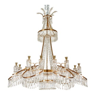 19th C. Russian Chandelier in Bronze & Crystal