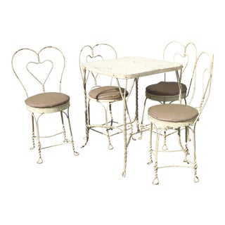 Vintage Farmhouse Industrial White Table & Heart Shaped Chairs