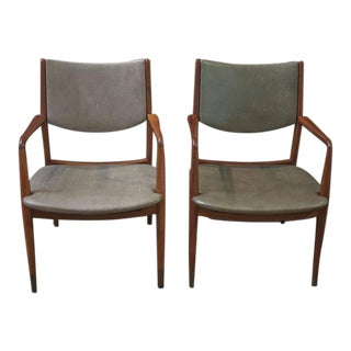 Pair of Walnut and Shagreen Leather MCM Armchairs by George Reinoehl