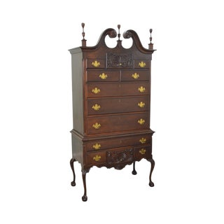 Craftique Solid Mahogany Ball & Claw Foot Chippendale Style Highboy