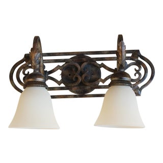 Contemporary Brass Finished Two-Light Wall Fixture