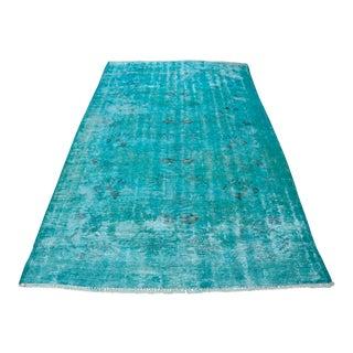 Overdyed Turquoise Rug - 5′2″ × 9′2″