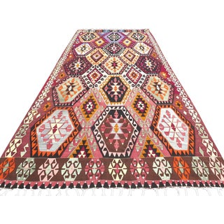 "Oversize Turkish Kilim Rug - 6'4"" X 14'7"""