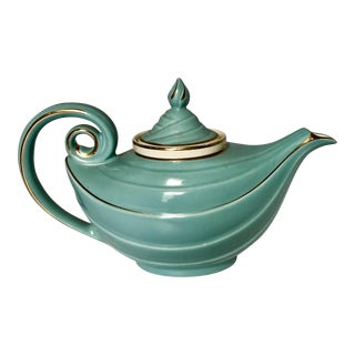 1950s Hall Tiffany Blue & Gold Aladdin's Lamp Teapot