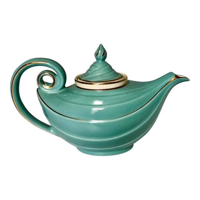 1950s Hall Tiffany Blue & Gold Aladdin's Lamp Teapot - Image 1 of 10